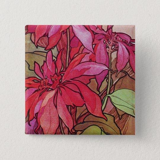 Art Nouveau Poinsettia Christmas Button Pin Mucha