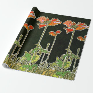 Art Nouveau Poppies 1901 Wrapping Paper