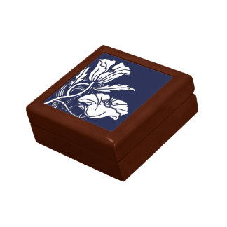 Art Nouveau Poppies Ceramic Tile Box Small Square Gift Box