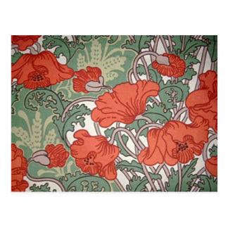 Art Nouveau Poppies Postcards
