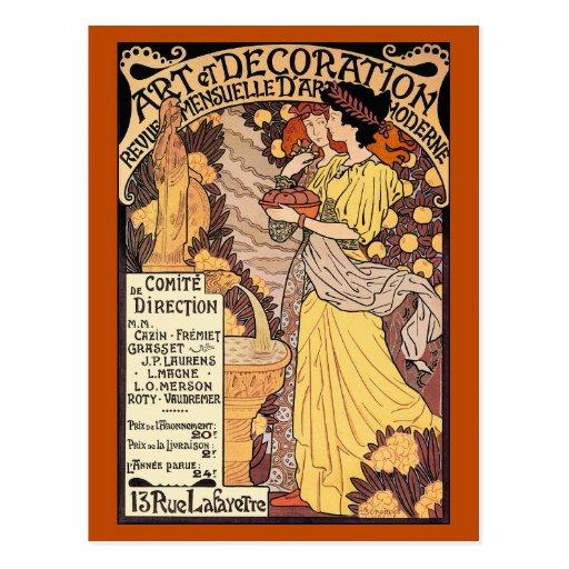 Art nouveau postcard art decoration zazzle for Art nouveau decoration ameublement