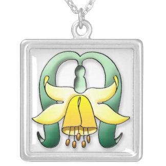 Art Nouveau pretty flower Silver Plated Necklace