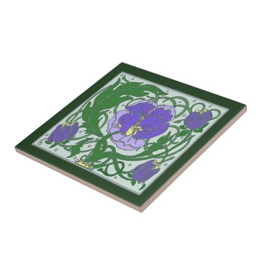 Art Nouveau Purple Peony Ceramic tile