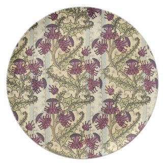 Art Nouveau Purple Thistle Flower Melamine Plate