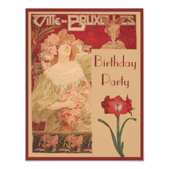 Art Nouveau Red Amaryllis & Lady Birthday Party Card