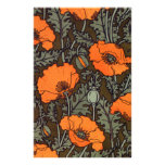 Art Nouveau Red Poppies Customized Stationery