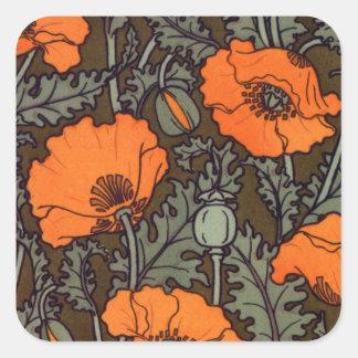 Art Nouveau Red Poppies Square Sticker