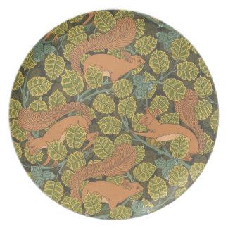 Art Nouveau Red squirrel Melamine Plate