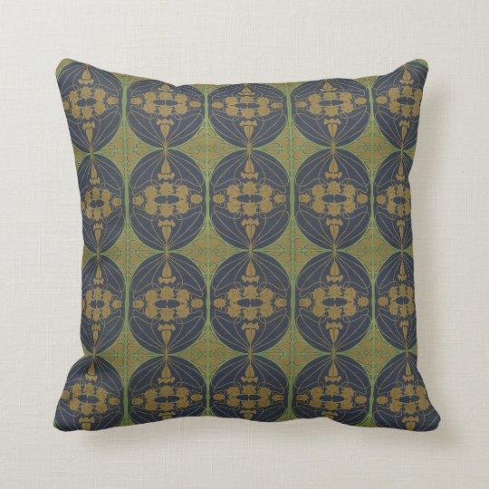 Art Nouveau Retro - blue green gold Cushion