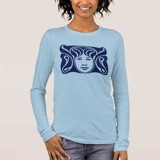 Art Nouveau Roman goddess female face blue Long