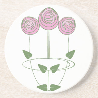 Art Nouveau Rose Design in Pink and Green Drink Coasters