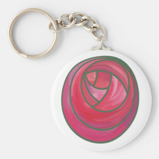 Art Nouveau Rose Design Key Ring