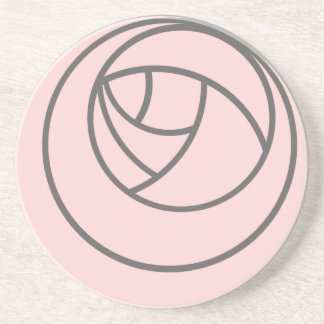 Art Nouveau Rose in Pink and Grey Beverage Coaster