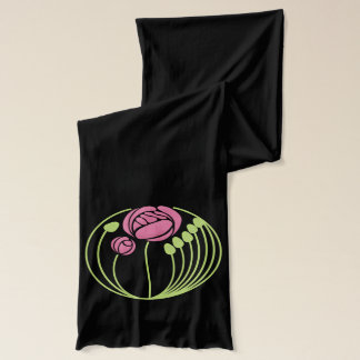 Art Nouveau Rose in the Style of Rennie Mackintosh Scarf