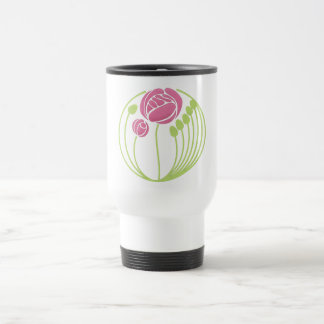 Art Nouveau Rose in the Style of Rennie Mackintosh Stainless Steel Travel Mug