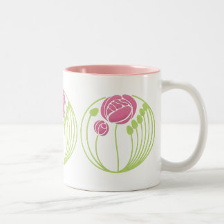 Art Nouveau Rose in the Style of Rennie Mackintosh Two-Tone Mug