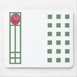 Art nouveau Rose & Squares Elements Mouse Mat