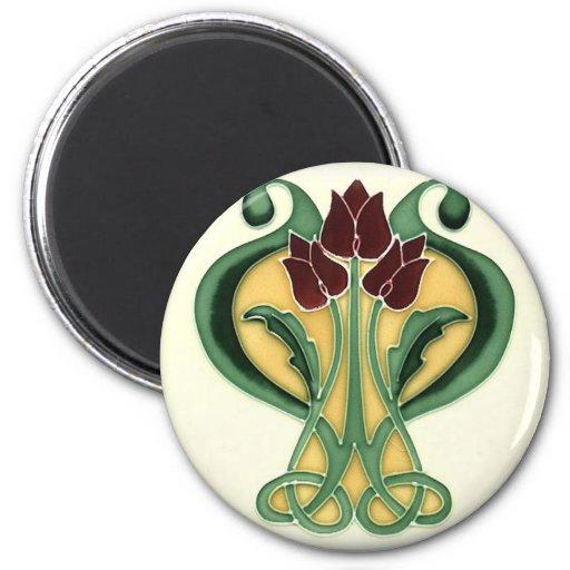 Art Nouveau Rose Tile 6 Cm Round Magnet