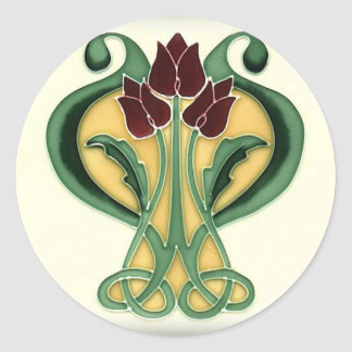 Art Nouveau Rose Tile Classic Round Sticker