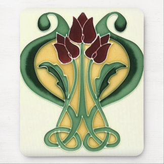 Art Nouveau Rose Tile Mouse Mat