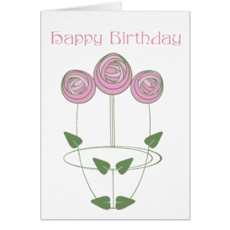 Art Nouveau Roses Birthday Card