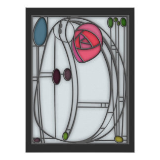 Art Nouveau Roses Design in Stained Glass Effect Posters