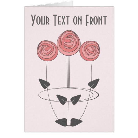 Art Nouveau Roses in Pink and Grey Card