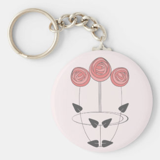Art Nouveau Roses in Pink and Grey Key Ring