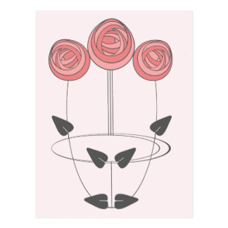 Art Nouveau Roses in Pink and Grey Postcard