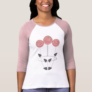 Art Nouveau Roses in Pink and Grey T-Shirt
