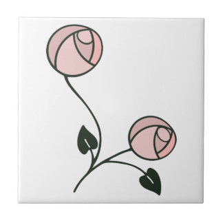 Art Nouveau Roses in Pink and Mauve Purple Tile