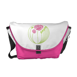 Art Nouveau Roses Motif in Pink and Green Commuter Bag