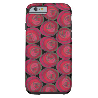 Art Nouveau Roses Pattern in Pink and Red Tough iPhone 6 Case