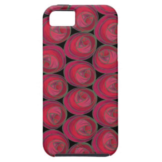 Art Nouveau Roses Pattern in Pink and Red Tough iPhone 5 Case