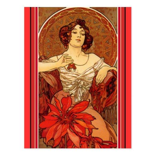"Art Nouveau ~ ""Ruby - The Precious Stones"" Post Card"