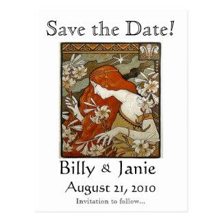Art Nouveau Save the Date Postcard