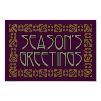 Art Nouveau Season s Greetings Posters