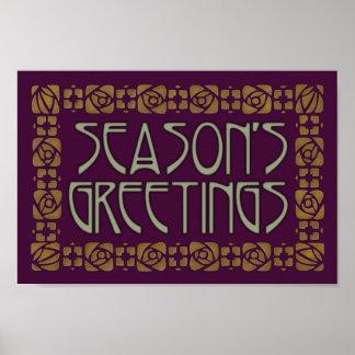 Art Nouveau Season's Greetings Poster
