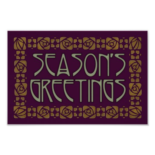 Art Nouveau Season's Greetings Posters