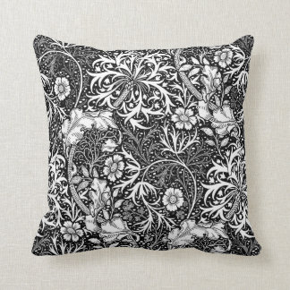 Art Nouveau Seaweed Floral, Black and White Cushion