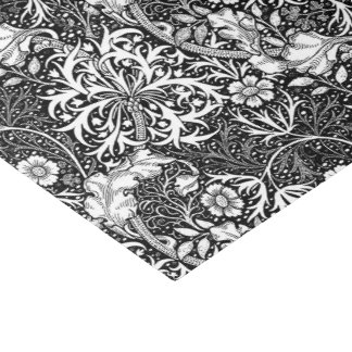 Art Nouveau Seaweed Floral, Black and White Tissue Paper