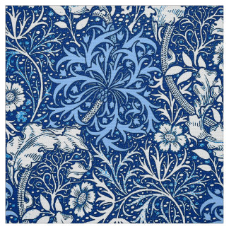 Art Nouveau Seaweed Floral, Cobalt Blue and White Fabric