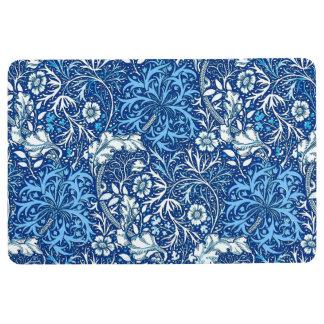 Art Nouveau Seaweed Floral, Cobalt Blue and White Floor Mat