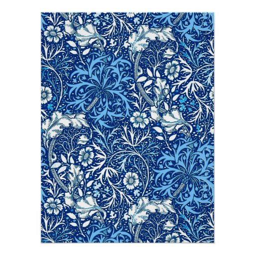 Art Nouveau Seaweed Floral, Cobalt Blue and White