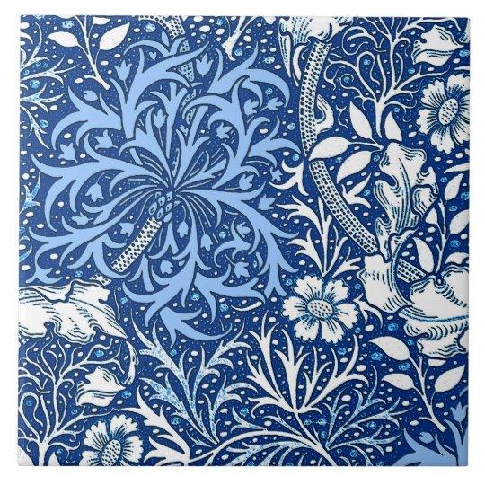 Art Nouveau Seaweed Floral, Cobalt Blue and White