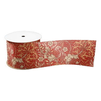 Art Nouveau Seaweed Floral, Deep Coral Orange Satin Ribbon