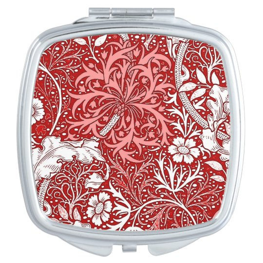 Art Nouveau Seaweed Floral, Deep Red and White