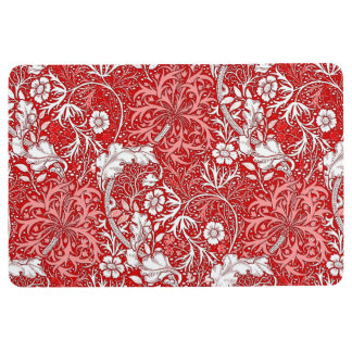 Art Nouveau Seaweed Floral, Deep Red and White Floor Mat