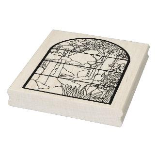 Art Nouveau Stain Glass Window Nature Scene Rubber Stamp