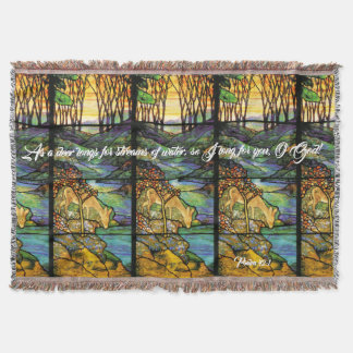 Art Nouveau Stained Glass Deer Psalm Throw Blanket